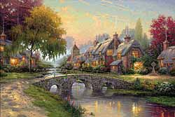 Kinkade - Cobblestone Bridge